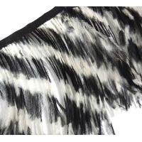 Перо страуса на ленте. Цвет: Черно - Белый