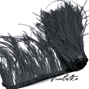 Перо страуса на ленте. Цвет: Черный