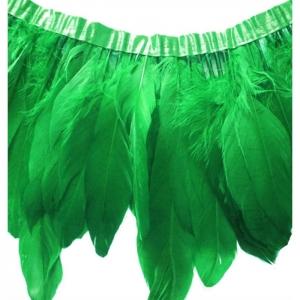 Перья гуся на ленте/ Зеленый