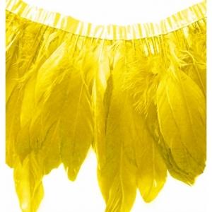 Перья гуся на ленте/  Желтый